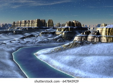 3d Created and Rendered Fantasy Landscape - 3D Illustration