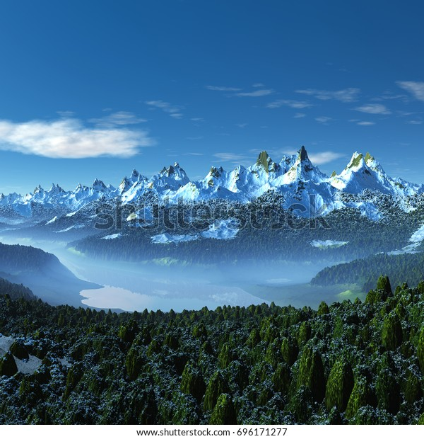 3d Created and Rendered Fantasy Mountain Landscape - 3D Illustration