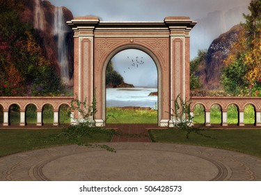3D Created and Rendered Fantasy Scene with Spanish Architecture