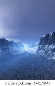 3d Created and Rendered Fantasy Winter Landscape - 3D Illustration