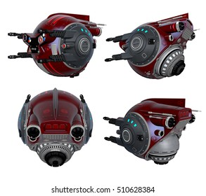 3d Created and Rendered Red Fantasy Drone