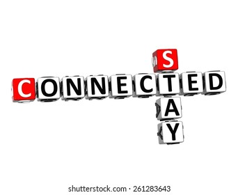 3D Crossword Stay Connected on white background