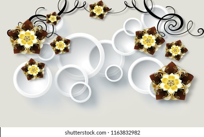 3D Crystal flower abstraction, wallpaper for walls, 3d rendering.