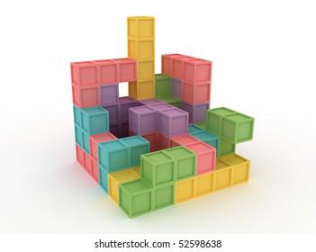 3d cube assembled from Tetris blocks