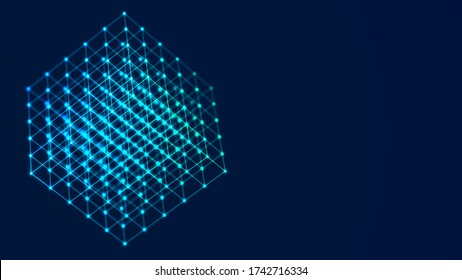 3D cube of lines and dots. Wireframe polygonal element on dark background. Science and technology. 3d rendering