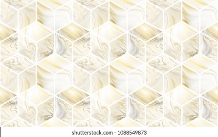 3d cubes. Abstract seamless pattern with golden and grey marble textures. Fantasy design for wallpapers or fabric.
