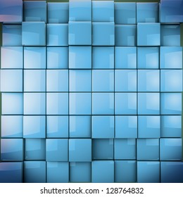 3-d cubes as nice background in blue toned