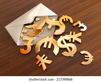 3d currency symbols in a white envelope on the office desk.