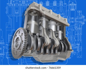 3D cut of car motor on the engineering drawing. Image with clipping path.