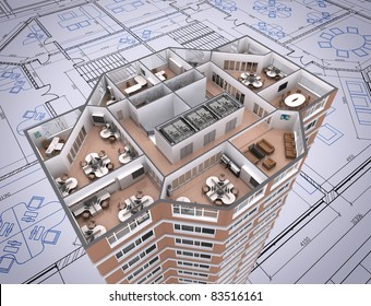 3D cut of office building on architect's drawing.