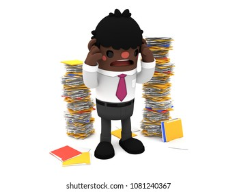 3D cute cartoon African businessman character overwhelmed by work, holding his head, standing isolated on a white background, next to some stacks of papers.