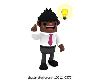 3D cute cartoon African businessman character, having an idea while pointing up a light bulb, standing smiling on an isolated white background.