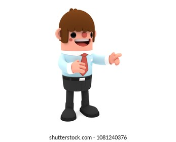 3D cute cartoon businessman character, pointing aside with finger, standing happily on an isolated white background.