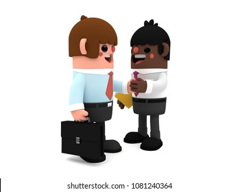 3D cute cartoon businessmen characters, closing a deal while they shake hands, standing cheerfully on a white background.
