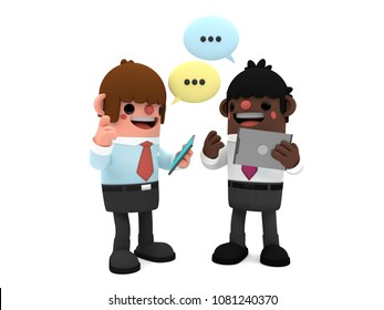 3D cute cartoon businessmen characters, discussing a project holding their digital tablets, standing happily on a white background, with comic bubbles above their heads.