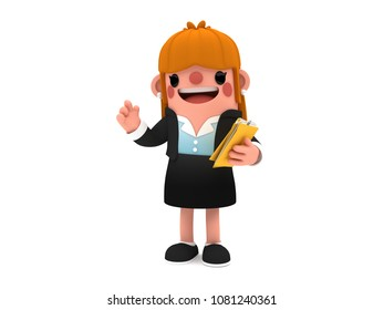 3D cute cartoon businesswoman character, holding a pile of folders while she speaks, standing cheerfully on an isolated white background.