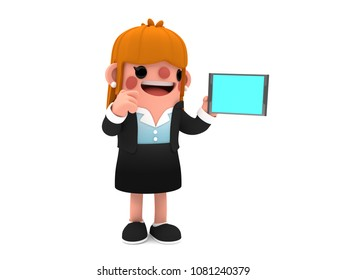 3D cute cartoon businesswoman character, pointing out ideas on the digital tablet she is holding, smiling while standing on an isolated white background.