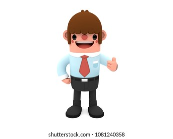 3D cute and funny cartoon businessman character showing thumbs up, standing isolated on white background.