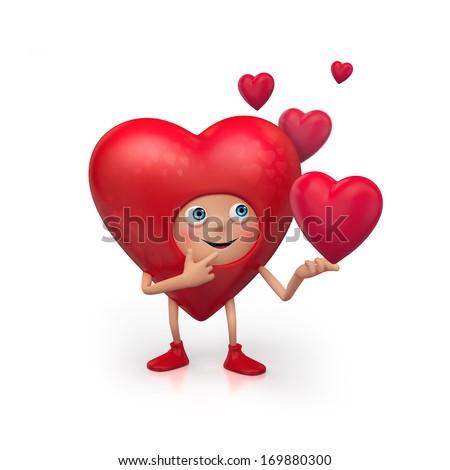 3 D Cute Funny Heart Cartoon Character Stock Illustration 169880300