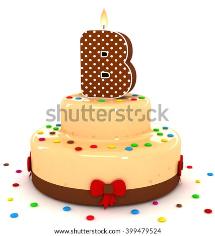 3d cute letter b rendering colorful with chocolate birthday cake alphabet with sweet polka