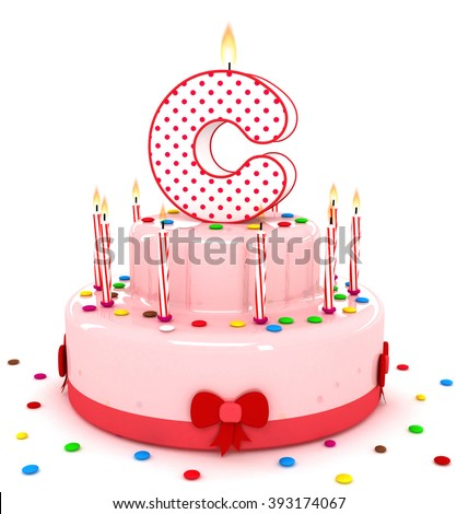 3d cute letter c rendering colorful birthday cake alphabet with sweet candle and decorate
