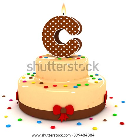 3d cute letter c rendering colorful with chocolate birthday cake alphabet with sweet polka