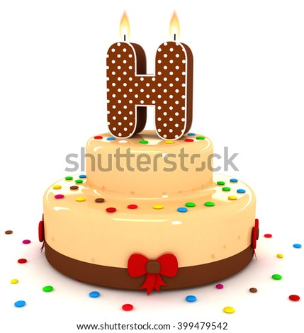 3d cute letter h rendering colorful with chocolate birthday cake alphabet with sweet polka