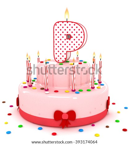 3d cute letter p rendering colorful birthday cake alphabet with sweet candle and decorate