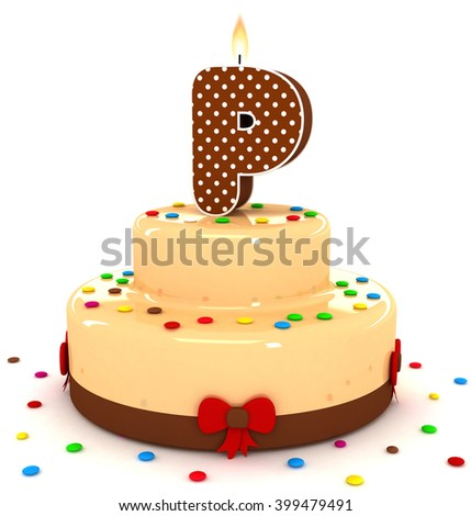 3d cute letter p rendering colorful with chocolate birthday cake alphabet with sweet polka
