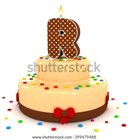 3d cute letter r rendering colorful with chocolate birthday cake alphabet with sweet polka