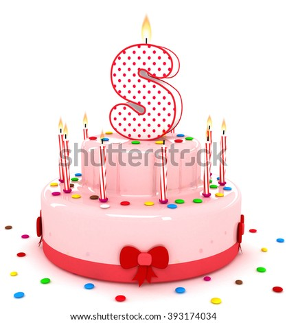 3d cute letter s rendering colorful birthday cake alphabet with sweet candle and decorate