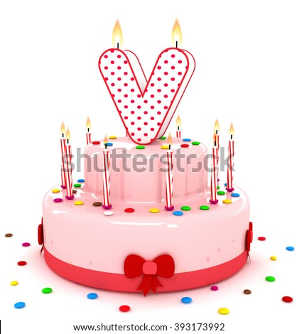 3d cute letter v rendering colorful birthday cake alphabet with sweet candle and decorate