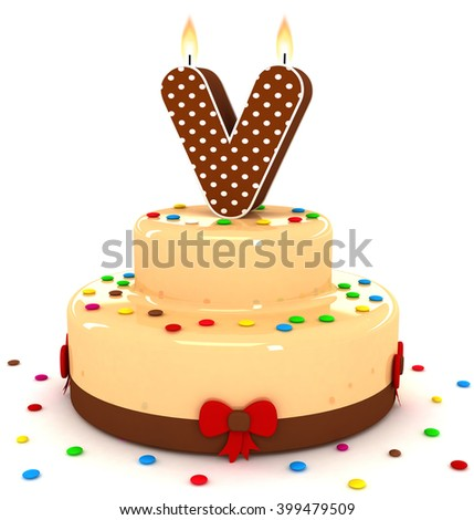 3d cute letter v rendering colorful with chocolate birthday cake alphabet with sweet polka