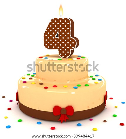 3d Cute Number 4 Four Rendering Colorful With Chocolate Birthday Cake Sweet Polka Dot