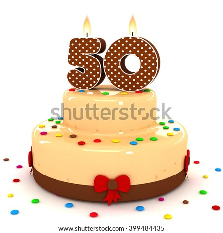 3d Cute Number 50 Fifty Rendering Colorful With Chocolate Birthday Cake Sweet Polka Dot