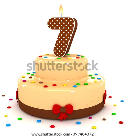 3d Cute Number 7 Seven Rendering Colorful With Chocolate Birthday Cake Sweet Polka Dot