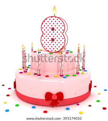 3d Cute Number 8 Eight Rendering Colorful Birthday Cake Year With Sweet Candle And