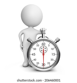 3d cute people - classic metal stopwatch isolated white background