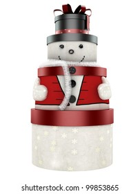 3d cute snow man made of gift boxes