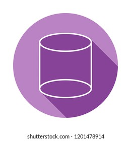 3d cylinder icon in long shadow style. One of Geometric figures collection icon can be used for UI, UX