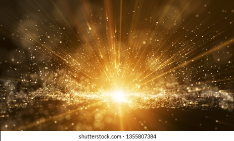 3D Dark brown background, digital signature with particles, sparkling waves, curtains and areas with deep depths. The particles are golden light lines.