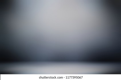 3d dark empty background. Thriller style. Wall and floor defocused texture. Terrific studio abstract illustration. Black grey blue ombre blurred pattern.