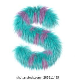 3d decorative cartoon fun animal fur letter S