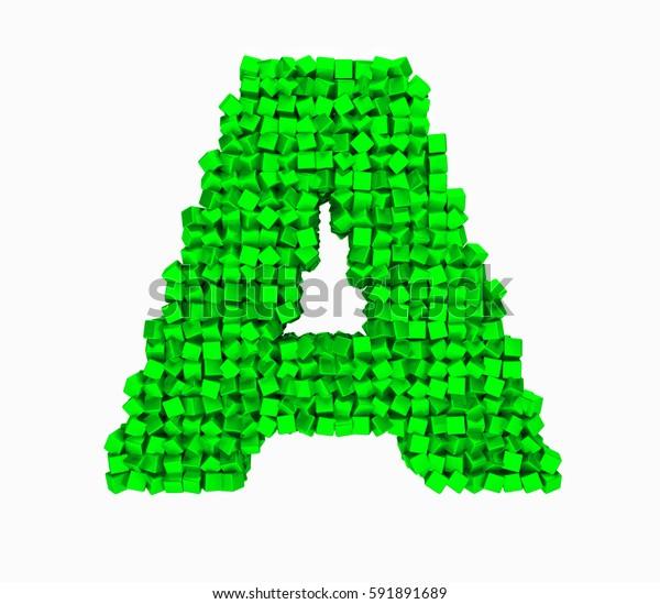 3D design the English alphabet cubes vrashenie, green letter A