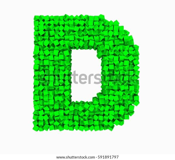 3D design the English alphabet cubes vrashenie, green letter D