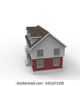 3D design of home space rendering results from the blender application. 3D illustration of home