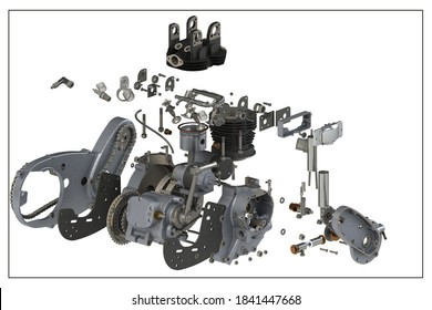 3D design of a motorcycle engine with exploded view.