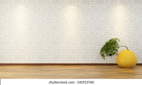 3D design and rendering bonsai tree in the yellow vase front white brick wall
