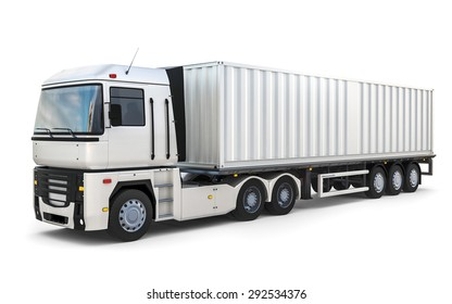 3D design semi trailer delivery truck on blank background