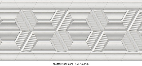 3D design wallpaper in the form of white relief modules with golden scuffs on the edges. Hexagon shape at the base of the mosaic.High quality seamless realistic texture.